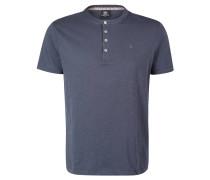 T-Shirt, Baumwolle, Henley-Ausschnitt, unifarben