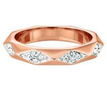 Ring Messing rotvergoldet Kristall