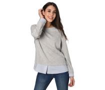 Sweatshirt, Blusen-Optik, gestreifte Stoffsaum-Abschlüsse