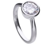 Solitär-Ring  mit weißem -Zirkonia und Zargen-Fassung 6118151582170