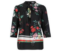 Blusenshirt, 3/4-Arm, floraler Allover-Print, Reißverschluss