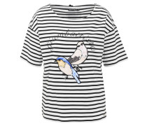 T-Shirt, gestreift, Pailletten-Vögel, Kontraststreifen