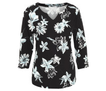 Shirt, 3/4-Arm, florales Muster, Split-Neck