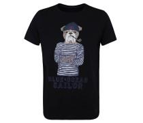 T-Shirt, Hunde-Print, Stickerei-Detail