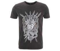 T-Shirt, Tiger-Motiv, Denim-Optik, Baumwolle