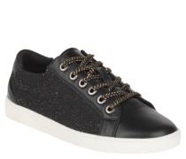 Sneaker low, Metallfasern, elastischer Einstieg, Schnürung