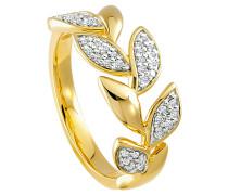 Ring 375 Gelb mit 37 Diamanten, zus. ca. 0,15 ct