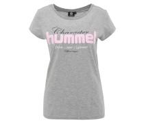 T-Shirt, Rundhalsausschnitt, Schriftzug, meliert