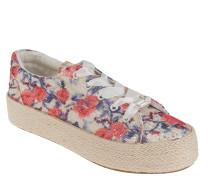 Sneaker, Plateau, florales Muster, Pailletten