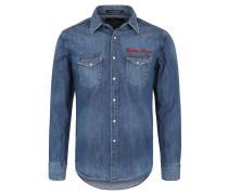 Jeanshemd, Western-Stil, Used-Look, Marken-Stickerei, Baumwolle