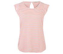 T-Shirt, Volant-Ärmel, gestreift, Rückenausschnitt