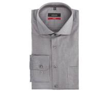 Businesshemd, Modern, Baumwolle, Brusttasche, meliert