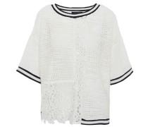 Shirt, 3/4-Arm, Loch-Struktur, florale Spitzen-Applikation