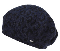Mütze, Rippstrick, Woll-Mix, Leoparden-Muster