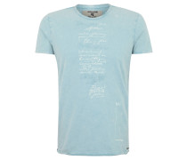 T-Shirt, Print, Stickerei, Oil-Washed-Optik