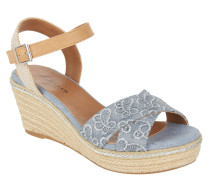 Sandaletten, Glitzer, Keilabsatz, Jeans-Steg