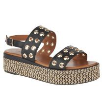Sandaletten, Nieten, Bast-Statement-Sohle