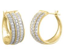 Creolen Gelb 585 mit Diamanten, zus. ca. 0,5 ct