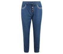 Jeans, Capri-Länge, Tapered Fit, Knopfleiste, Tunnelzug