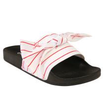 Slides, gestreift, Logo-Print, Schleife, vorgeformtes Fußbett