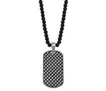 Herren-Halskette mit DogTag und Onyx-Steinen