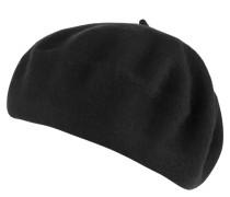 Mütze, Basken-Stil, reine Wolle, Logo-Detail