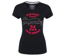 T-Shirt, Flock-Print, Applikation, Rundhalsausschnitt, reine Baumwolle