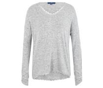 Pullover, Strick, meliert, Spitzen-Besatz, geraffte Ärmel, V-Ausschnitt