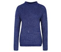 Pullover, Rippstrick, meliert, Metallic-Effekt, Stehkragen