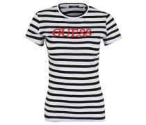 T-Shirt, Baumwolle, gestreift, gummierter Logo-Print