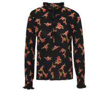 Bluse, Schlüsselloch-Ausschnitt, Falten, Rüschen, floral gemustert