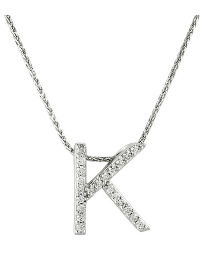 """Kette mit Anhänger """"K"""", 375 Weißgold mit Diamanten, zus. ca. 0"""