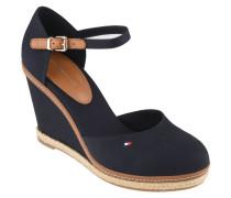Sandaletten, Keilabsatz, Logo-Stickerei, Leder-Riemchen