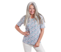 T-Shirt, Bio-Baumwolle, florales Muster, Rundhalsausschnitt