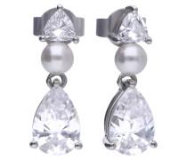 Verspielte Perl-Ohrringe  mit weißen -Zirkonia und Tropfenform 6219001111