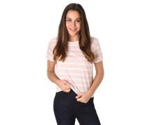 T-Shirt, Baumwolle, Streifen, Spitze-Details