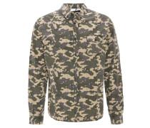 Freizeithemd, Camouflage, Brusttasche, Button-Down-Kragen