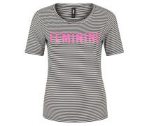 T-Shirt, gestreift, Front-Print, Rundhalsausschnitt