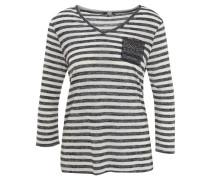 Shirt, 7/8-Arm, V-Ausschnitt, Perlen, gestreift
