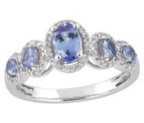 Diamant-Ring, Weißgold 585, Tansanit, zus. ca 0