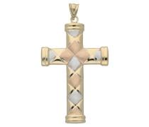 Kreuzanhänger, satiniert, tricolor, 375er Gold
