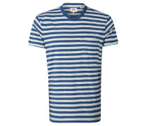 T-Shirt, Baumwolle, gestreift, meliert, Brusttasche