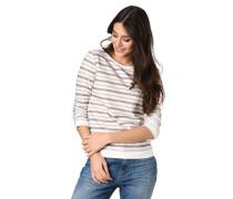 Sweatshirt, 3/4-Arm, Raffungen, Streifen, Ripp-Bündchen