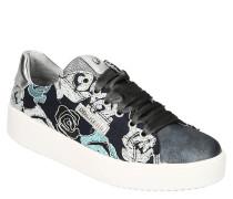 Sneaker, Metallic-Details, Samt-Schnürung, Blumenmuster, Plateau