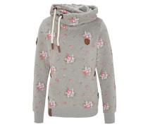 Hoodie, florales Design, Wickelkragen, Kordel, Kapuze