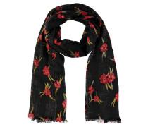 Schal, Blumen-Muster, Fransen, leicht transparent