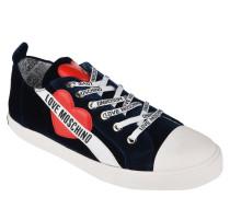 Sneaker, Samt, Herz-Patches, Logo-Schnürsenkel