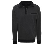 Sweatshirt, Troyer-Kragen, Brusttasche, Kontrast-Details, Baumwolle