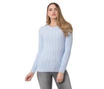 Pullover, Zopfmuster, Zierknöpfe, Rippbündchen, Logo-Patch