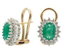 Ohrstecker mit Smaragd, Gelbgold 585, mit 32 Diamanten, zus. ca. 0